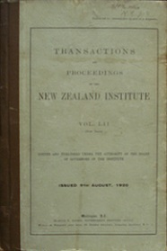 Transactions and Proceedings of the Royal Society of New Zealand Vol 52