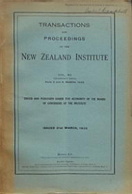 Transactions and Proceedings of the Royal Society of New Zealand Vol 62, Parts 3 & 4 in one volume